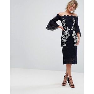 Ivy & Hope Bardot Off-shoulder Embroidered Dress